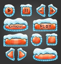 Winter cartoon orange buttons with snow vector