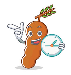 With clock tamarind character cartoon style vector