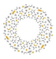 Gold and silver textured space round frame vector image