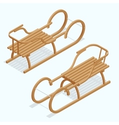 Kids sleigh isometric children vector