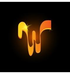 Golden arabic style letter w shiny latin alphabet vector