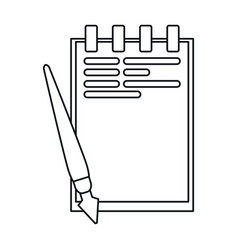Notepad paper pen writing office outline vector