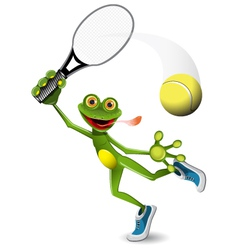 Frog tennis player vector