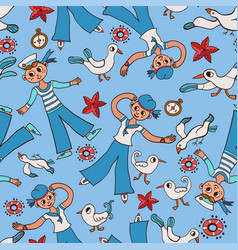 Doodle seamless pattern sailor and gull vector