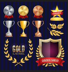 Awards and trophies collection golden vector
