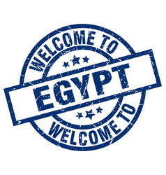 Welcome to egypt blue stamp vector