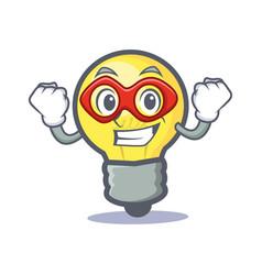 Super hero light bulb character cartoon vector