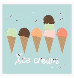 Row of summer ice cream cones vector