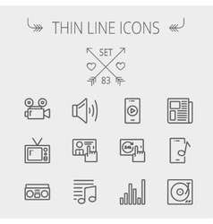 Multimedia thin line icon set vector