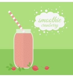 Cranberry smoothie in jar on a table vector