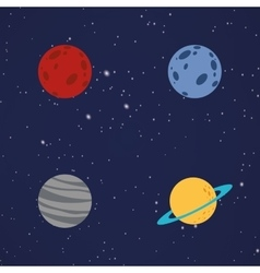 Abstract cartoon planets vector