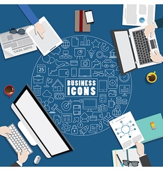 Business meeting with icon on blue background32 vector