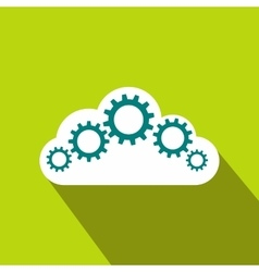 Cloud with gears icon flat style vector