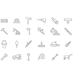 Construction black icons set vector