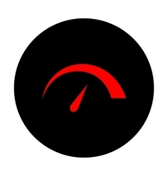 Speedometer sign red icon vector