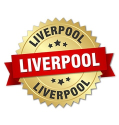 Liverpool round golden badge with red ribbon vector
