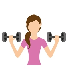 Woman lifting weights isolated icon design vector