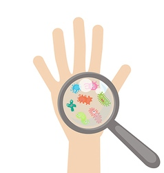 Bacteria and virus cells on human palm vector