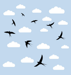 birds in the clouds vector image vector image