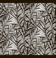Black seamless pattern with drawn fern vector