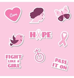 Breast cancer awareness month flat icons vector image