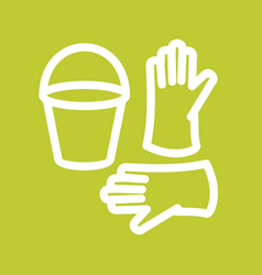 Bucket and gloves vector