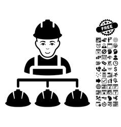 Builder management flat icon with bonus vector