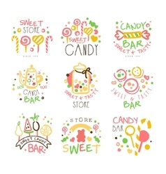 Candy Shop Promo Signs Set Of Colorful vector image
