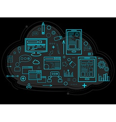 Cloud data is stored on the server information vector image vector image