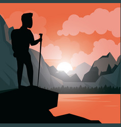 colorful sunset landscape of climber man at the vector image