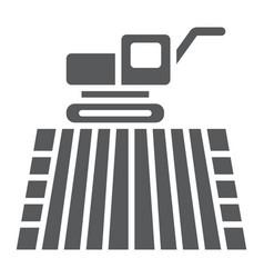 Combine harvester on field glyph icon farming vector