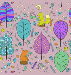 cozy seamless pattern about forest tea vector image