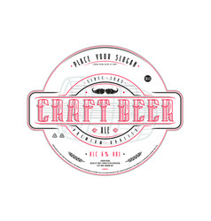Craft beer label template in vintage style vector