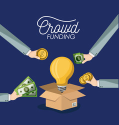 Crowdfunding poster with cardboard box opened with vector