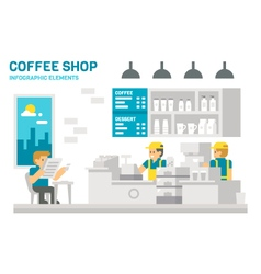 Flat design coffee shop infographic vector image vector image
