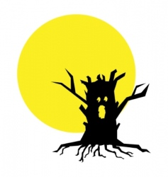 full moon and tree illustration vector image