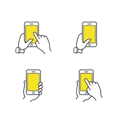 Hands holding smartphone flat line icon vector