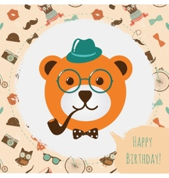 Hipster Bear Head Card vector image vector image
