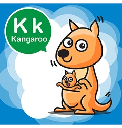 K Kangaroo color cartoon and alphabet for children vector image