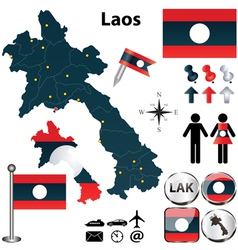 Map of Laos vector image vector image