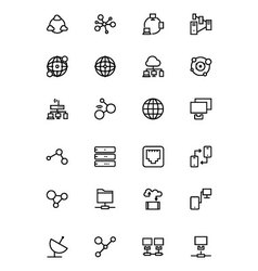 Network and sharing outline icons 1 vector