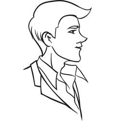 Portrait of beautiful man in profile vector