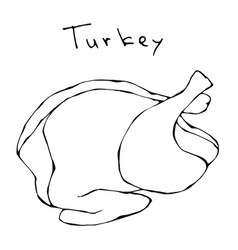 Raw turkey full carcass realistic vector