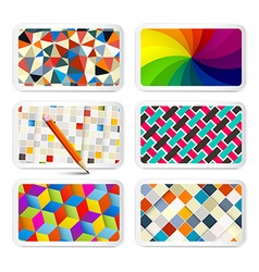 Retro Backgrounds Set - 6 Different Vintage vector image vector image
