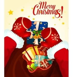 Santa Claus with gift bag Christmas card design vector image vector image