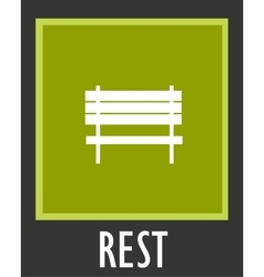 simple icon for rest Bench in park vector image