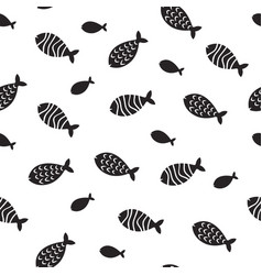 swimming fish seamless pattern small vector image