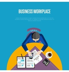 Top view business workplace in flat style vector