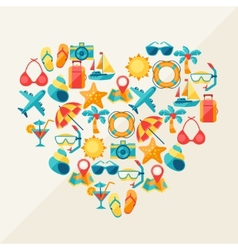 Travel and tourism background of icons in heart vector