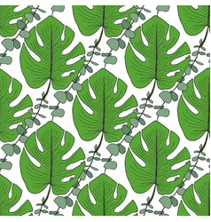tropical green leaves pattern seamless pattern vector image